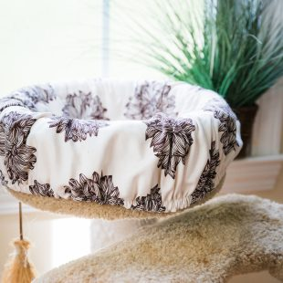 basic cat perch cover brown flower print