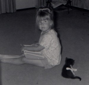 Young Climb-It Cat founder, Kristi King, with her kitten, Pyewacket