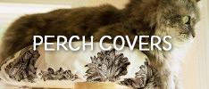 Fluffy cat sitting on Climb-It Cat perch cover