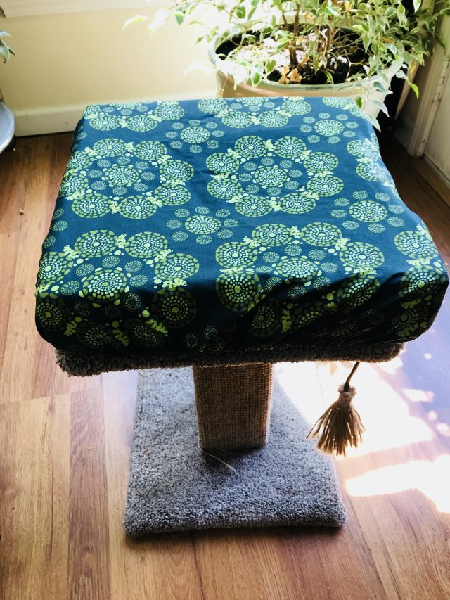 Basic cat perch cover green print square